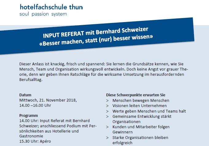 INPUT REFERAT / Hotelfachschule Thun / 21.11.2018